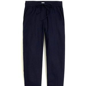 J. Crew Linen-cotton Drawstring Pant NAVY